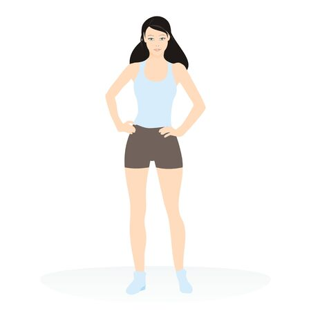 body outline: Vector illustration of a young attractive girl exercising