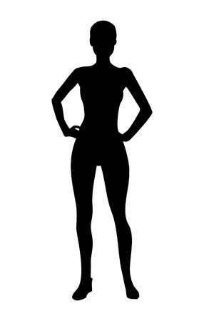 human body silhouette: Fitness girl silhouette