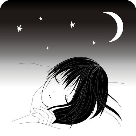 good night: Sleeping girl