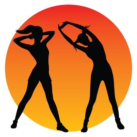 aerobic training: Fitness girls silhouettes Illustration