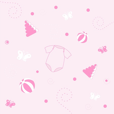 panties: Baby girl arrival announcement card Stock Photo