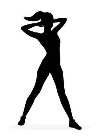 aerobic training: Fitness girl silhouette