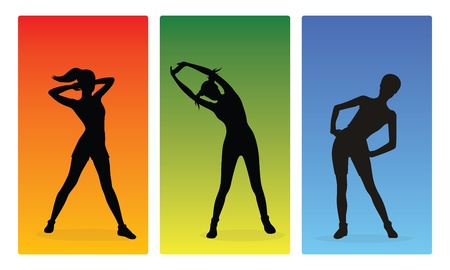 Fitness girls silhouettes Illustration