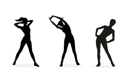 Fitness vrouw silhouetten