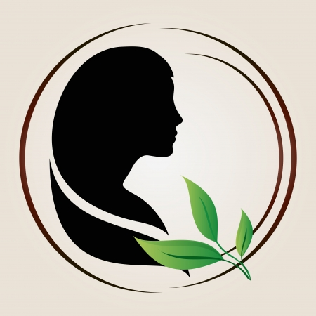 Woman silhouette with green leaves