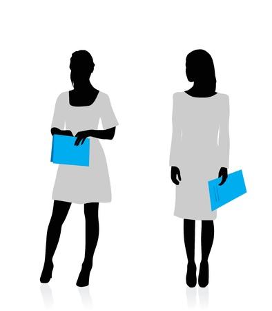 black lady talking: Siluetas de mujer de negocios