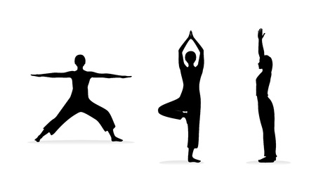 Fitness or yoga women silhouettes   Vector illustration  eps 8