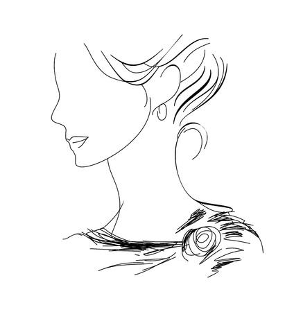 Una mujer dibujada a mano el perfil de boceto