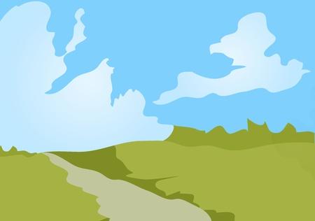 Vector illustration of cartoon landscape background. Eps 10. Vector