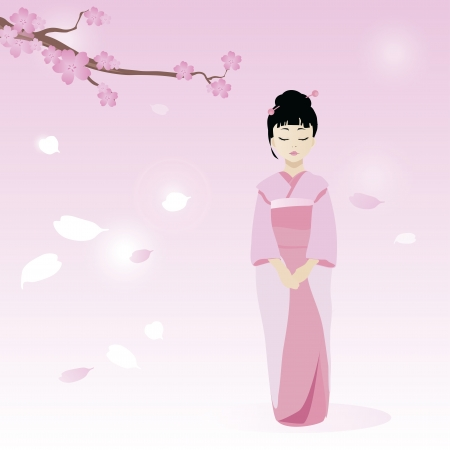 Cartoon pretty geisha character against the backdrop of cherry blossoms