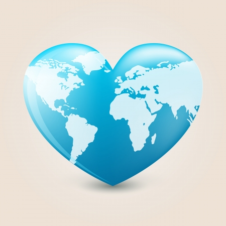 asia globe: Heart with earth mapping
