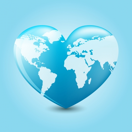 Heart with earth mapping on blue background