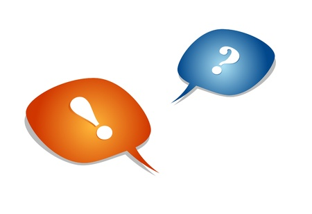 question and exclamation mark with speech bubbles Illustration