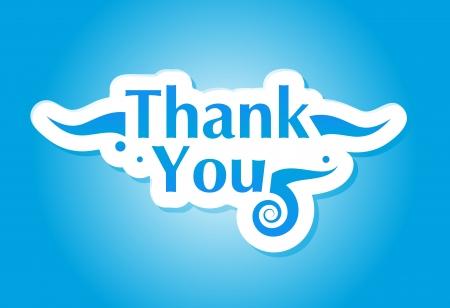 you: Merci graphique isol� sur fond bleu