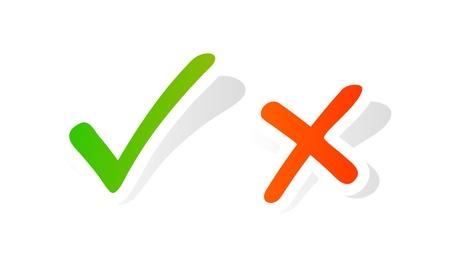 cruz roja: Marca de verificaci�n gr�fico sobre fondo blanco Vectores