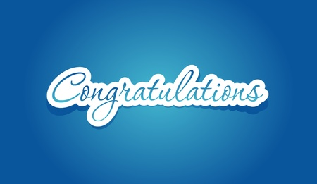 congratulations banner: Congratulations lettering on blue background