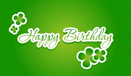 hand lettering: Happy birthday lettering on green background