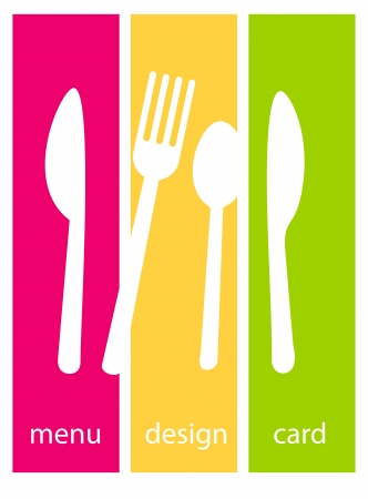 Cute design of menu template card  Fork, knife and spoon silhouettes on colourfull backgrounds