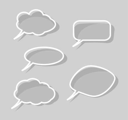 Speech bubbles isolated on gray background Vettoriali