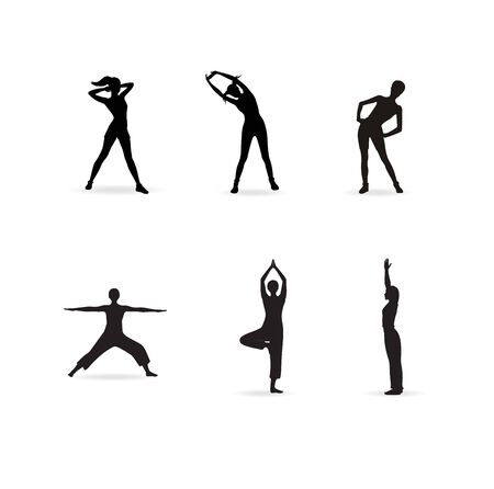 Fitness or yoga women silhouettes Stock Vector - 15152406