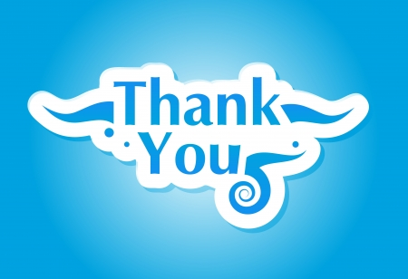 gratitude: Thank you graphic isolated on blue background Illustration
