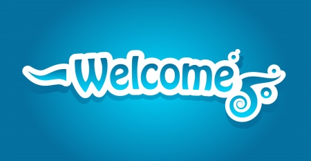 locution: Welcome lettering on blue background
