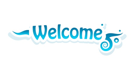 locution: Welcome lettering on white background