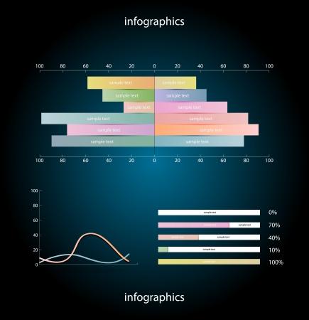 Infographics elements over dark background Vettoriali
