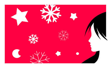 new year background vector illustration with girl profile and snowflakes