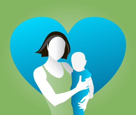 mother holding baby: Vector illustration of mother and child