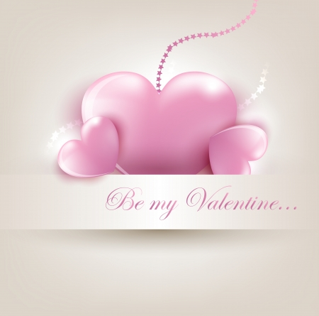 Valentin s Day card with pink hearts