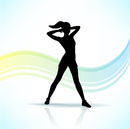 flexible woman: Sport, fitness woman silhouette