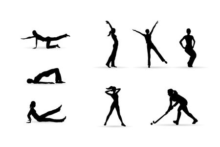 fitness woman silhouettes isolated on white background, editable illustration Stock Vector - 20562198