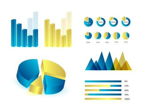Infographics elements in blue and yellow colors  Editable vector illustration  Eps 10