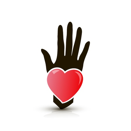 hand with heart icon Illustration