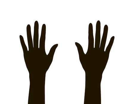 grab: hands silhouette isolated on white background, vector illustration Illustration