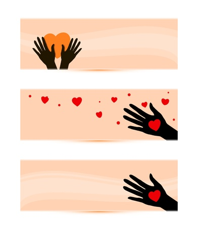 banners templates with hands with hearts vector illustration Stock Vector - 21087077