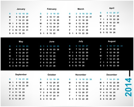 calendar for 2014, editable vector illustration