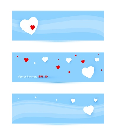 banners with hearts vector illustration Vector