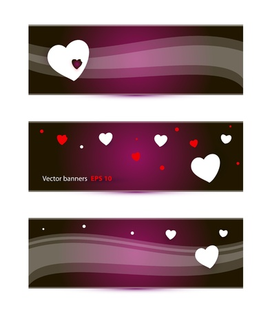 banners templates with hearts vector illustration Vector