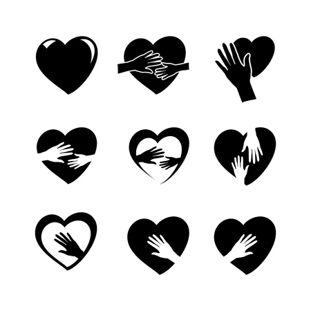 black hands holding a heart icons isolated on white background, vector illustration Vector
