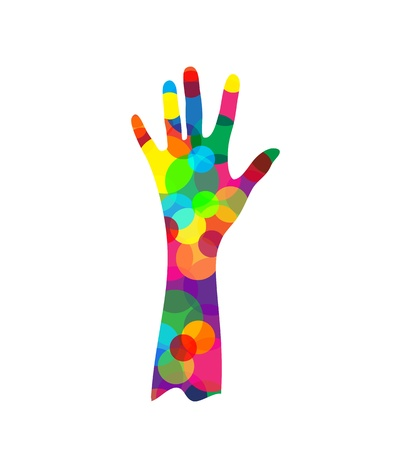 grope: hand silhouette made of colored circles isolated on white background, vector illustration Illustration
