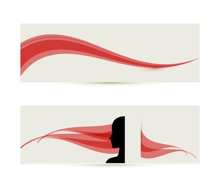 banner templates with female profile silhouette Vector