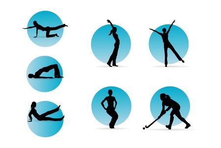 fitness woman silhouettes editable vector illustration