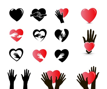 hands and heart icons isolated on white background, vector illustration Illustration