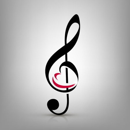 treble clef with an illustration of a heart-shaped Vector