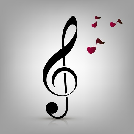 I love music concept, treble clef and heart-shaped music notes