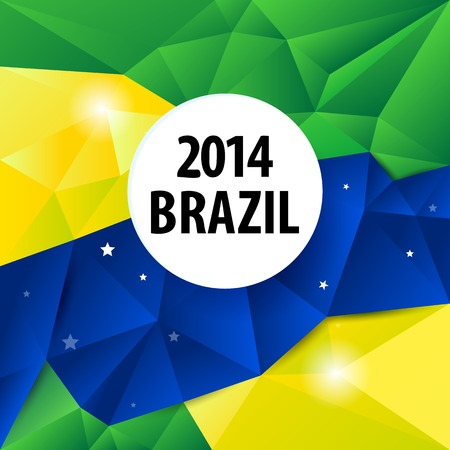 Brazil flag color abstract geometric background, vector illustration. Vector