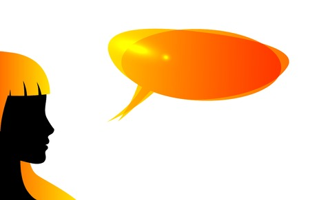 Abstract speaker silhouette with speech bubble isolated on white Vector