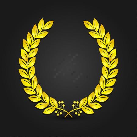 golden laurel wreath: Golden laurel wreath on black background